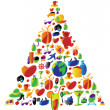 Stock Vector: Christmas tree made of icons