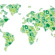 Green concept of World map — Vector de stock