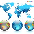 Royalty-Free Stock Imagem Vetorial: Globes on blue detailed map