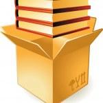 Icon of books in box — Stock Vector