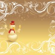 Royalty-Free Stock Векторное изображение: Ornate background with snowman