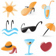 Stock Vector: Smooth vacations and resort icons