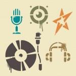 icone musica dello stencil — Vettoriale Stock
