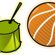 Vector objects drum and ball — Stock Vector