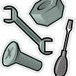 Stock Vector: Vector objects for screw