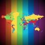 Mapa vícebarevné světa — Stock vektor