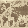 World map with travel icons -  