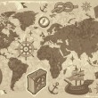 Royalty-Free Stock Vectorielle: World map with travel icons