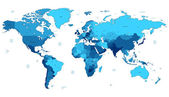 Blue detailed World map — Stockvector
