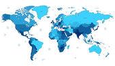 Mappemonde détaillée bleu — Vecteur