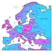 Cyan and violet map of Europe — Stock Vector