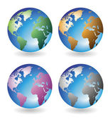 Multicolored globes — Stock Vector