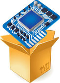 Icon of chipset in box — Stock Vector