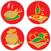 Icons with foods and drinks. — Stock Vector