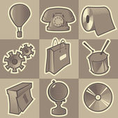 Monochrome miscellaneous icons — Stock Vector