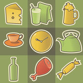 Multicolored food icons — Stock Vector