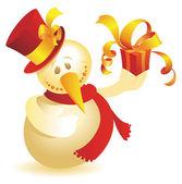 Boneco de neve com ouro de presente — Vetor de Stock