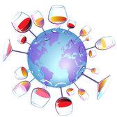 Wine World isolated — Stock Vector
