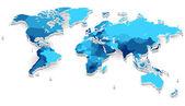 Extruido mapamundi con países — Vector de stock