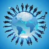 Globe and businessmen — Stock Vector