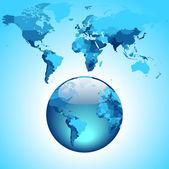 Globe on blue World map — Stock Vector
