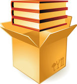 Icon of books in box — Stock Vector