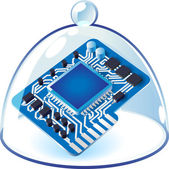 Icon of chipset under bell-glass — Stock Vector