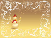 Ornate background with snowman — Stock Vector