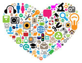 Set of icons in heart shape — Stock Vector