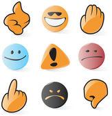 Smooth emoticon and cursor icons — Stock Vector
