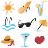 Smooth vacations and resort icons — Stock Vector