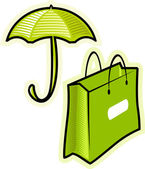 Vector objects umbrella and paperbag — Stock Vector