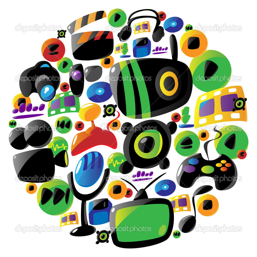 Entertainment and music icons in circle stock vector for Music entertainment