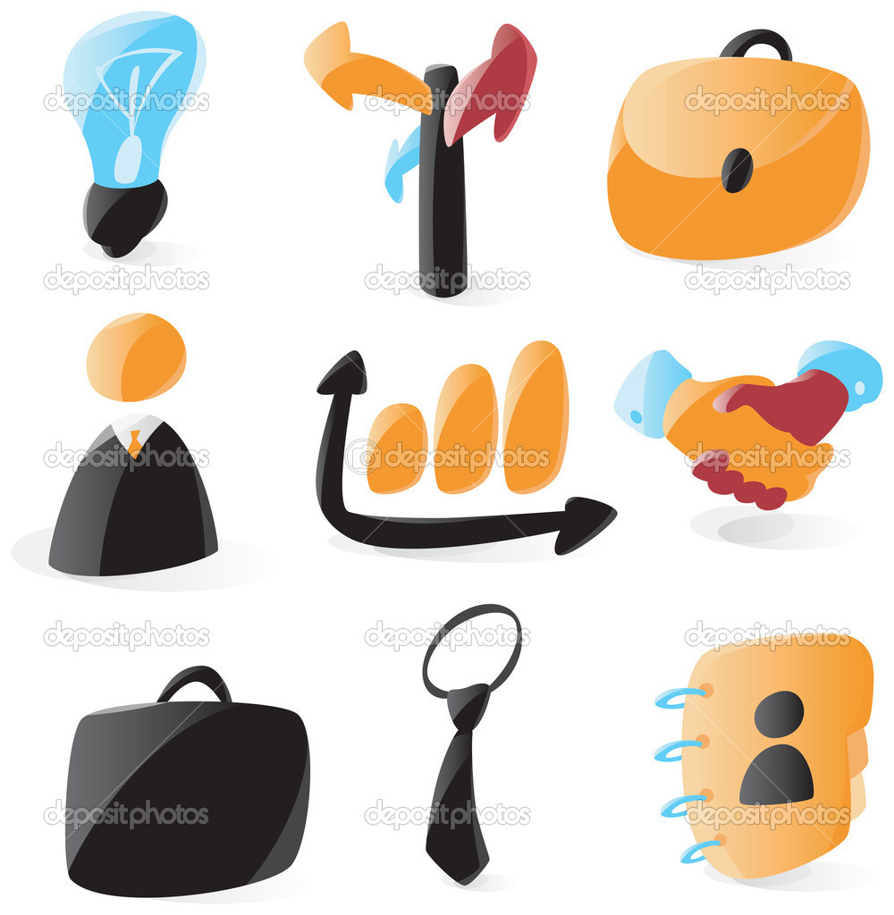 Set of smooth and glossy business icons. Vector illustration.  — Stock Vector #2781608