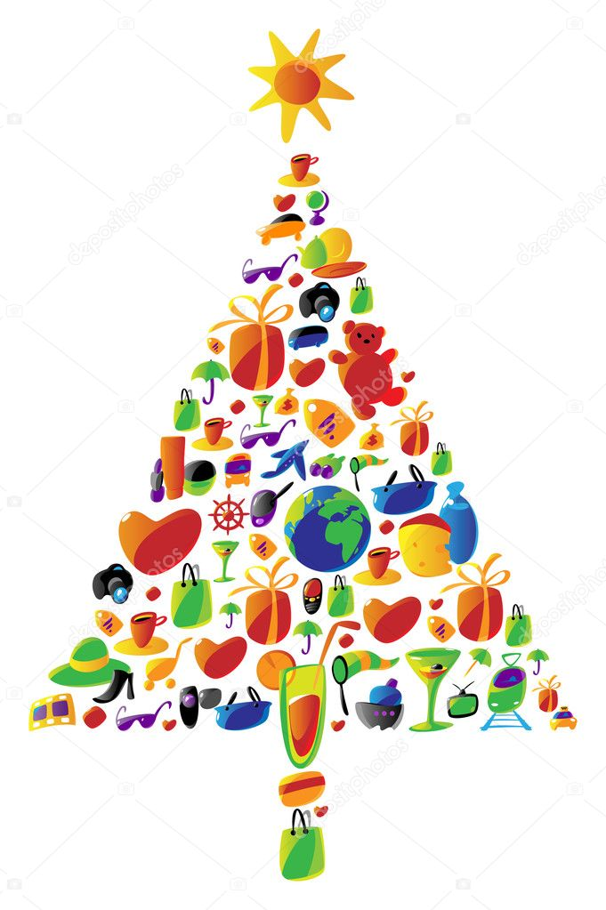 Christmas tree with gifts made of icons. Vector icon set with items for ladies shopping, travel and leisure, food and drinks used in this illustration.  — Stock Vector #2785737