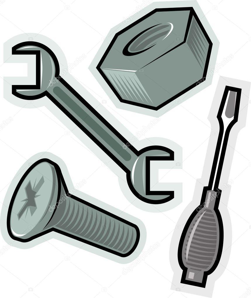 Vector objects for screw — Stock Vector © ildogesto #2786425