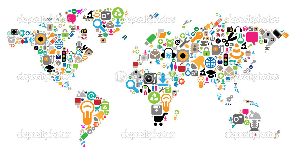 World map made of internet and computer icons. Vector illustration concept. — Imagens vectoriais em stock #2786513