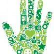 Concept of green human hand - Stock Vector