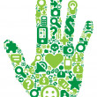 Concept of green human hand — Stock Vector