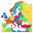 Multicolored map of Europe — Vector de stock