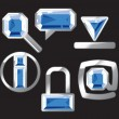 Stock Vector: Gem icons with sapphire and silver