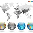Globes on gray detailed map — Image vectorielle