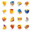 Realistic icons set for books and papers - Stockvectorbeeld
