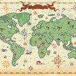 Colorful ancient World map — Stock vektor