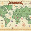Colorful ancient World map — Imagens vectoriais em stock