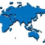 3d map of Eurasia, Africa and Australia — Stock Vector
