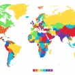 Worldmap in rainbow colors — Stockvectorbeeld