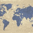 Stockvector : Retro-styled world map with compass