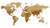 Brown detailed World map — Stok Vektör