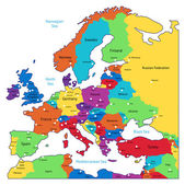 Multicolored map of Europe — Stock Vector